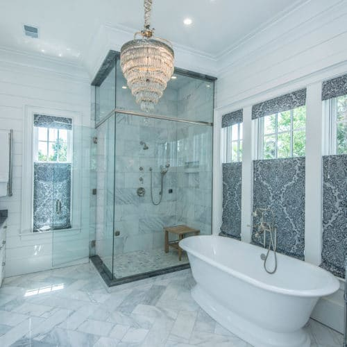 elegant custom bathroom by Lowcountry home builder, Madigan Projects