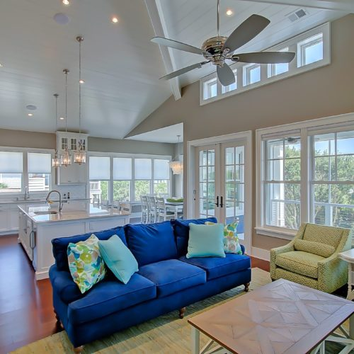 open interior shot of custom living room and kitchen by Lowcountry Builder, Madigan Projects