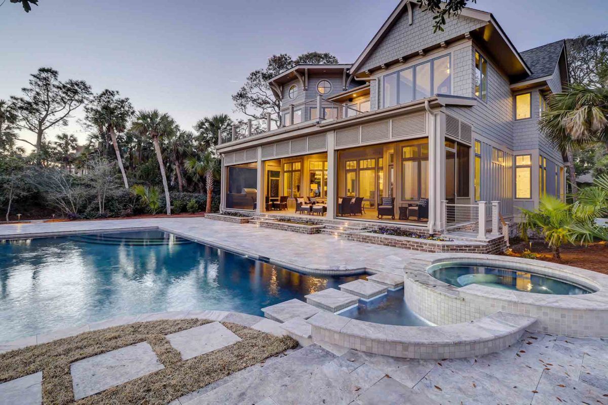 stunning custom home and pool build by Brighton Builders of Hilton Head Island