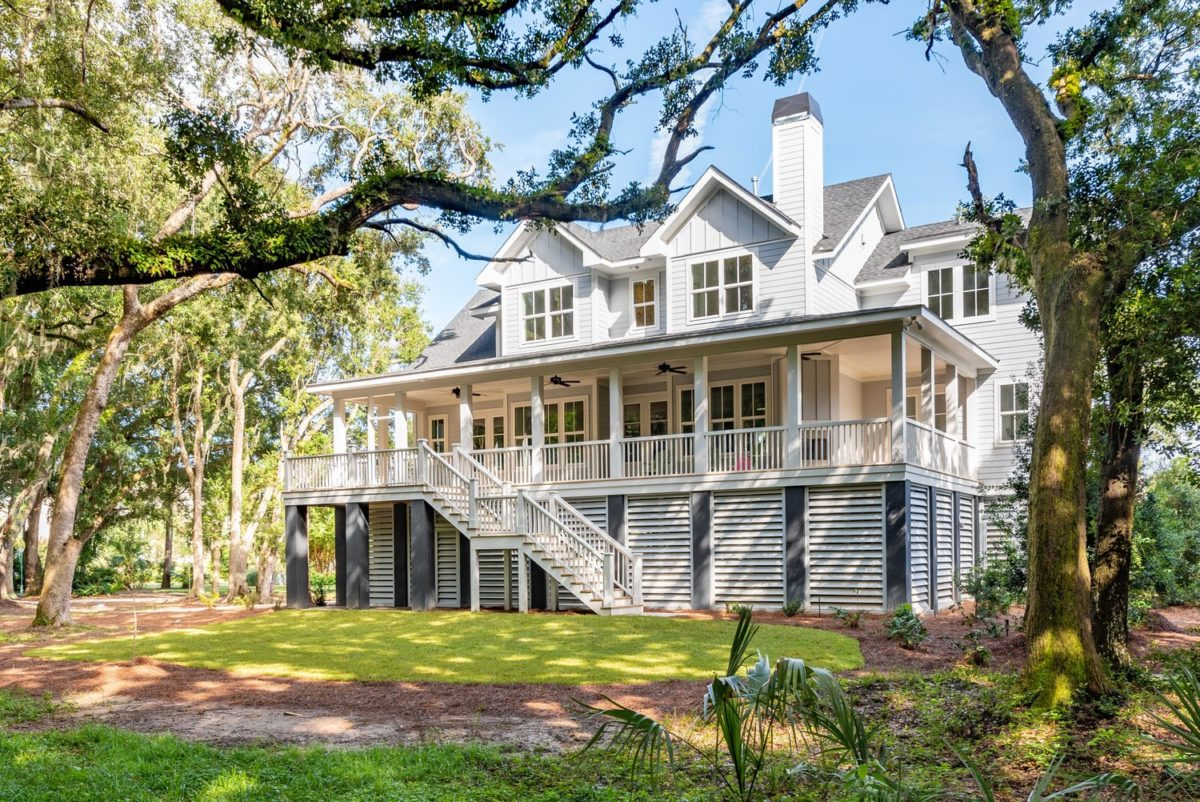 shaded exterior shot of custom lowcountry home designed by Galloway Family Homes