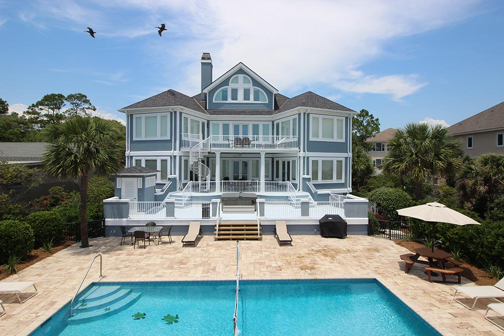 elevation shot of seaside custom home by Hilton Head builder Roberts Construction Company