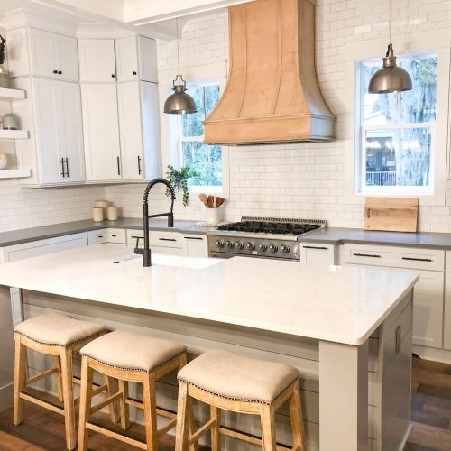 custom kitchen design in Beaufort home by Meritus Homes, a lowcountry home builder