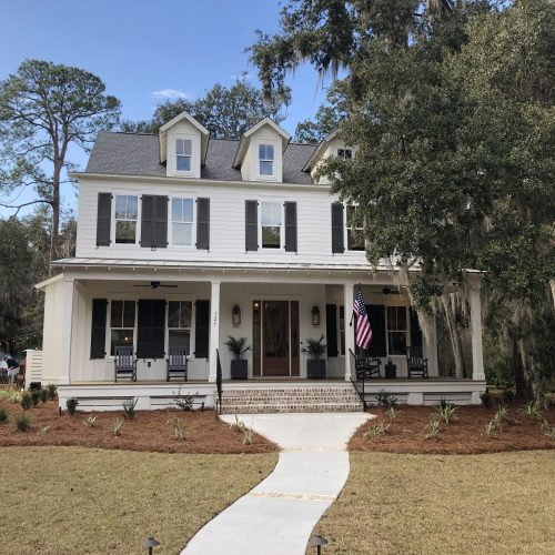 exterior of custom lowcountry home built by residential builder Meritus Signature Homes